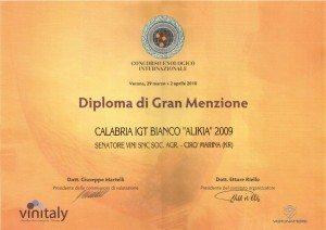 Alikia - Diploma Gran Menzione - Vinitaly 2010