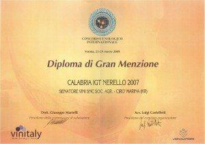 Nerello - Diploma Gran Menzione - Vinitaly 2010