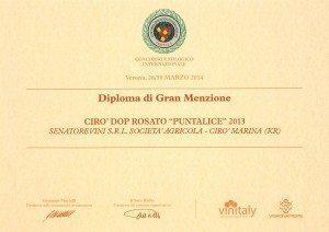 Puntalice - Diploma di Gran Menzione - Vinitaly 2014