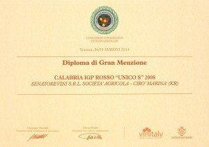 Unico - Senator Diploma di Gran Menzione - Vinitaly 2014