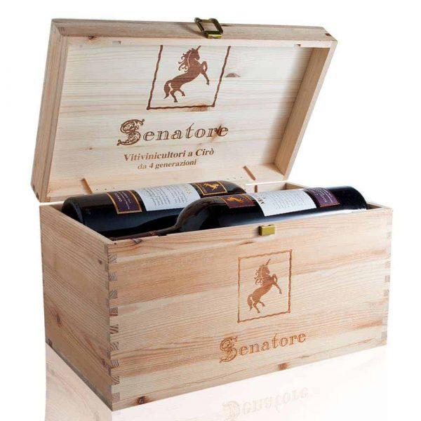 Wein Holzkiste mit 4 Flaschen Bild